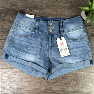 High Rise Shortie Jean Shorts Cuffed Leg